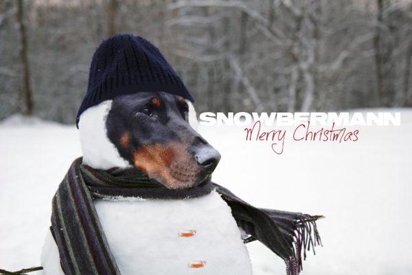 Snow man standing close up